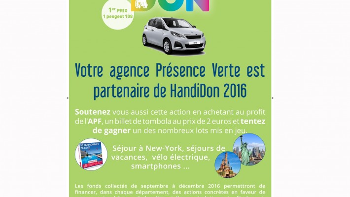 PVS partenaire de HANDIDON 2016 avec l'Association des Paralysés de France