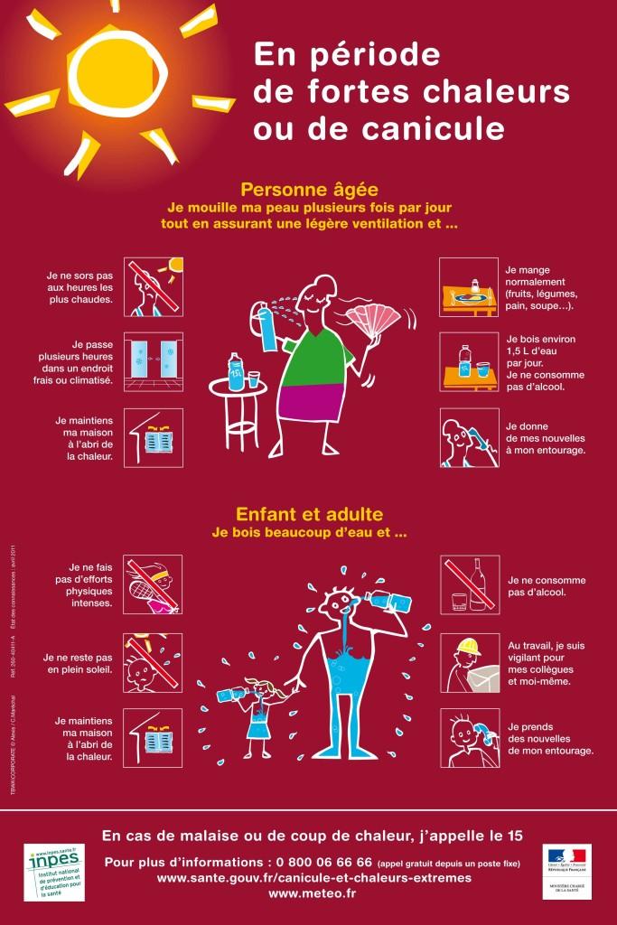 Affiche: En période de fortes chaleurs ou de canicule